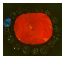 Hope Diamond emitting a red phosphorescence
